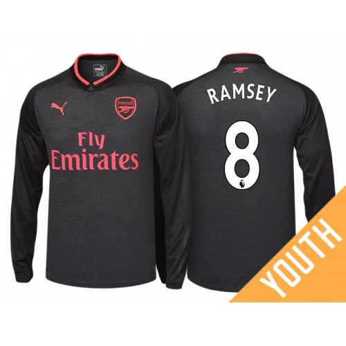 2fc6bded71f Youth - Aaron Ramsey  8 Arsenal Black Third 2017-18 Authentic Long Shirt