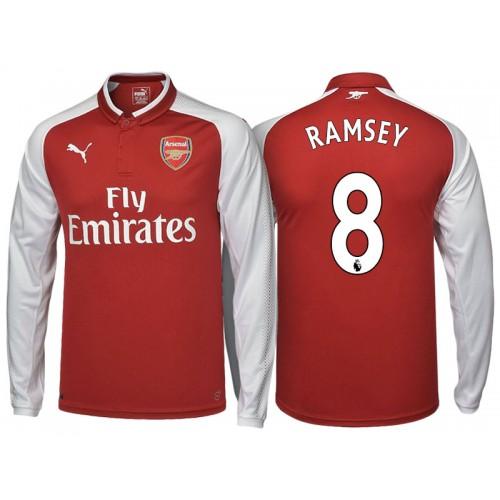 Aaron Ramsey #8 Arsenal Red 2017-18 Home Replica Long Shirt