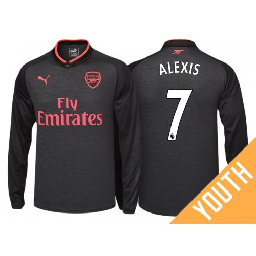 more photos 7eacd 1cfae Youth - Alexis Sanchez #7 Arsenal Black Third 2017-18 ...