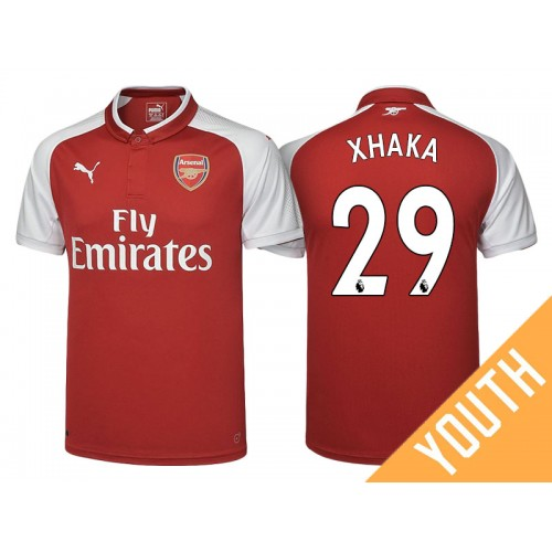 online retailer f4527 76a60 Youth - Granit Xhaka #29 Arsenal Red 2017-18 Home Authentic ...
