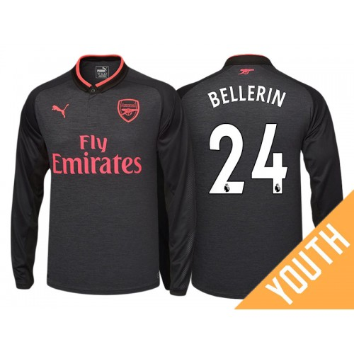 low priced 64015 2ff49 Youth - Hector Bellerin #24 Arsenal Black Third 2017-18 ...