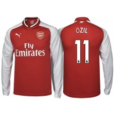 Mesut Ozil #11 Arsenal Red 2017-18 Home Replica Long Shirt