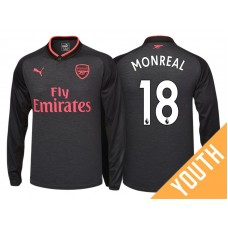 34a25715c26 Youth - Nacho Monreal  18 Arsenal Black Third 2017-18 Replica Long Shirt