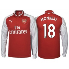Nacho Monreal #18 Arsenal Red 2017-18 Home Authentic Long Shirt