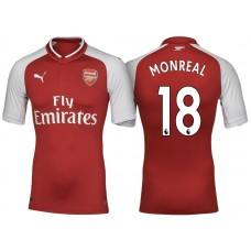 Nacho Monreal #18 Arsenal Red 2017-18 Home Authentic Jersey