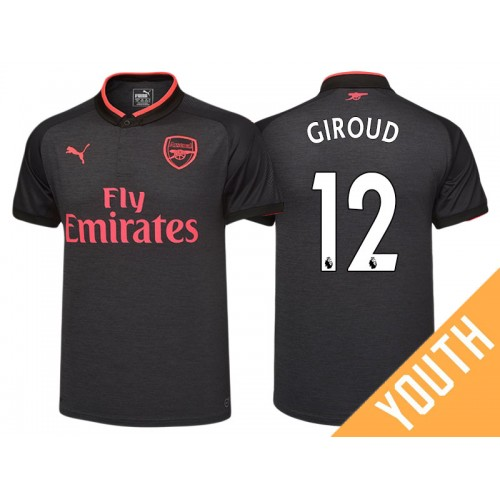 low priced f93a6 5ae09 Youth - Olivier Giroud #12 Arsenal Black Third 2017-18 ...