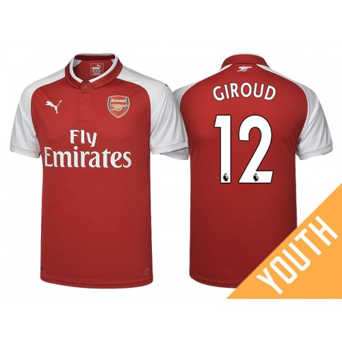 half off bd2e9 c33d5 Youth - Olivier Giroud #12 Arsenal Red 2017-18 Home Replica ...