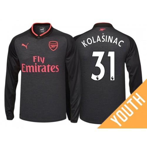 competitive price 136f7 9c5e8 Youth - Sead Kolasinac #31 Arsenal Black Third 2017-18 ...