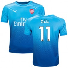 Youth 2017/18 Arsenal Mesut Ozil Authentic Navy & Light Blue Away Jersey