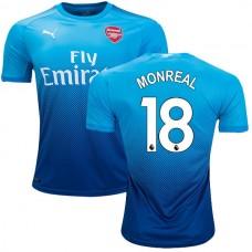 2017/18 Arsenal Nacho Monreal Authentic Navy & Light Blue Away Jersey
