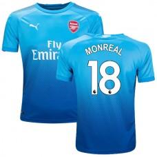 Youth 2017/18 Arsenal Nacho Monreal Navy & Light Blue Away Replica Jersey