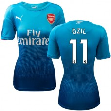 Women's 2017/18 Arsenal Mesut Ozil Authentic Navy & Light Blue Away Jersey
