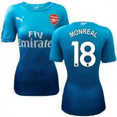 Women's 2017/18 Arsenal Nacho Monreal Navy & Light Blue Away Replica Jersey