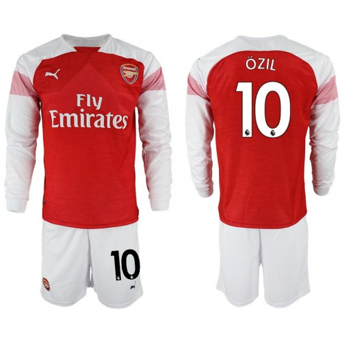 low priced 15ca5 963bc 2018-19 Arsenal #10 OZIL Home Shirt Long Sleeve Red/White