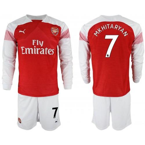 the best attitude 71c26 36647 2018-19 Arsenal #7 MKHITARYAN Home Shirt Long Sleeve Red/White