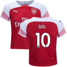 YOUTH - Arsenal Mesut Ozil #10 Home Red White Authentic Jersey 2018/19
