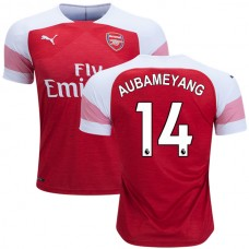 f26cbbd20ef Arsenal Pierre-Emerick Aubameyang  14 Home Red White Authentic Jersey 2018  19
