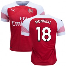 Arsenal Nacho Monreal #18 Home Red White Authentic Jersey 2018/19