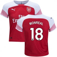 YOUTH - Arsenal Nacho Monreal #18 Home Red White Authentic Jersey 2018/19