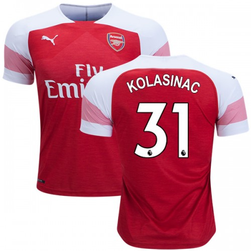 first rate 7e79f f74a9 2018-19 Sead Kolasinac Arsenal Home #31 Jersey Red White ...