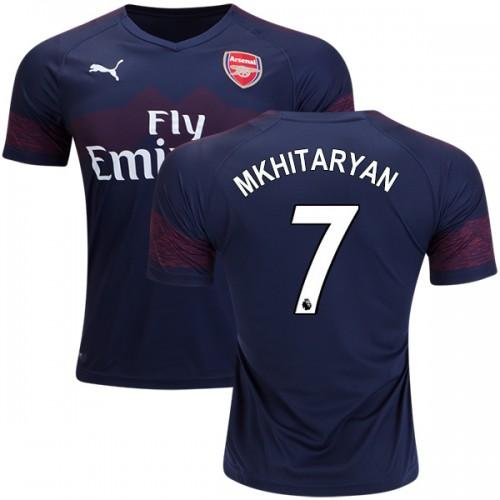 d063be3bebc 2018-19 Henrikh Mkhitaryan Arsenal Away  7 Jersey Dark Blue Brown ...