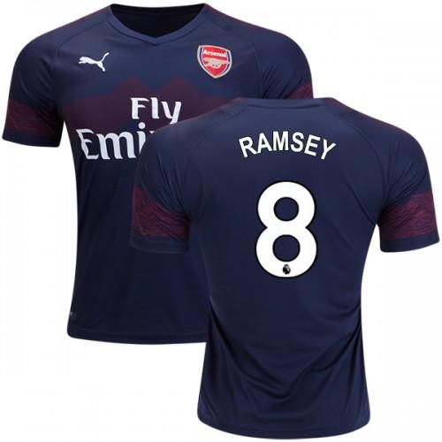 best website b77fb 4dc5c 2018-19 Aaron Ramsey Arsenal Away #8 Jersey Dark Blue Brown ...