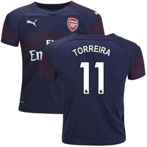 best website fc4e7 25a39 2018-19 Kid's Lucas Torreira Arsenal Away #11 Jersey Dark ...