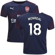 YOUTH - Arsenal Nacho Monreal #18 Away Dark Blue Brown Authentic Jersey 2018/19