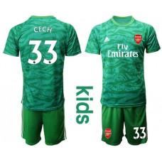 Youth Arsenal 2019/20 #33 CECH Green Goalkeeper Soccer Jersey