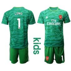 Youth Arsenal 2019/20 #1 LENO Green Goalkeeper Soccer Jersey