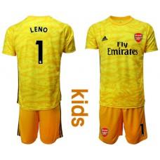 Youth Arsenal 2019/20 #1 LENO Yellow Goalkeeper Soccer Jersey