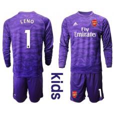 Youth Arsenal 2019/20 #1 LENO Purple Long Sleeved Goalkeeper Soccer Jersey