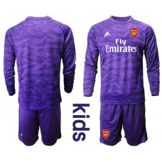 Youth Arsenal 2019/20 Purple Long Sleeved Goalkeeper Soccer Jersey