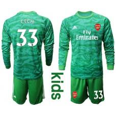 Youth Arsenal 2019/20 #33 CECH Green Goalkeeper Long Sleeve Soccer Jersey