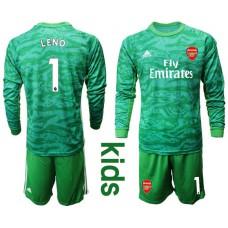 Youth Arsenal 2019/20 #1 LENO Green Goalkeeper Long Sleeve Soccer Jersey