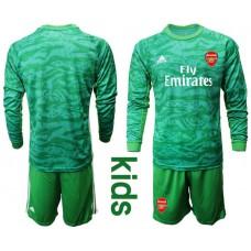 Youth Arsenal 2019/20 Green Goalkeeper Long Sleeve Soccer Jersey