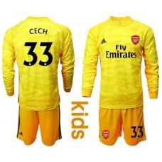 Youth Arsenal 2019/20 #33 CECH Yellow Goalkeeper Long Sleeve Soccer Jersey