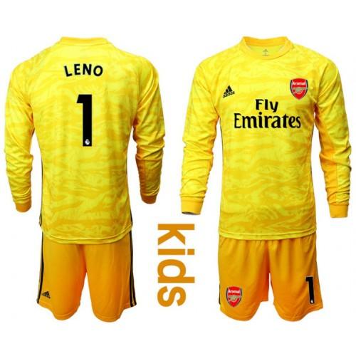 Youth Arsenal 2019/20 #1 LENO Yellow Goalkeeper Long Sleeve Soccer Jersey