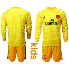 Youth Arsenal 2019/20 Yellow Goalkeeper Long Sleeve Soccer Jersey