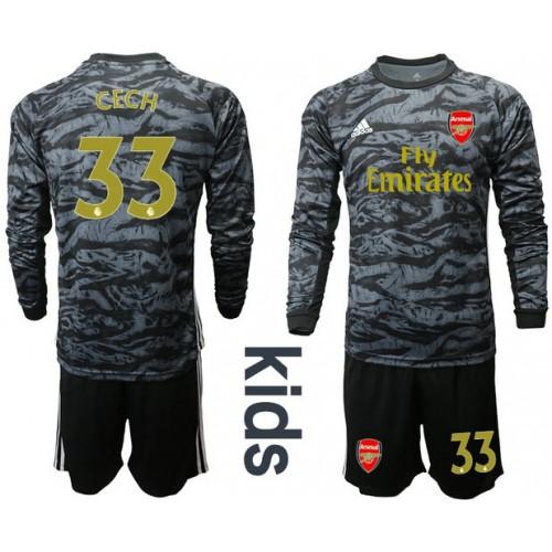 Youth Arsenal 2019/20 #33 CECH Black Long Sleeve Goalkeeper Soccer Jersey
