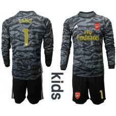 Youth Arsenal 2019/20 #1 LENO Black Long Sleeve Goalkeeper Soccer Jersey