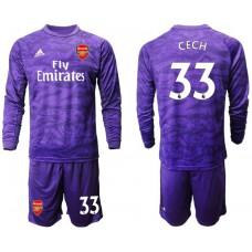 Arsenal 2019/20 #33 CECH Purple Long Sleeve Goalkeeper Soccer Jersey