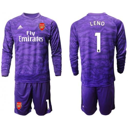 Arsenal 2019/20 #1 LENO Purple Long Sleeve Goalkeeper Soccer Jersey
