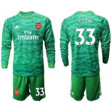 Arsenal 2019/20 #33 CECH Green Goalkeeper Long Sleeve Soccer Jersey