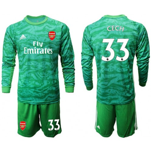 Arsenal 2019 20 33 Cech Green Goalkeeper Long Sleeve Soccer Jersey