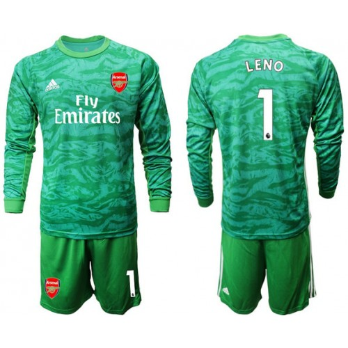 Arsenal 2019/20 #1 LENO Green Goalkeeper Long Sleeve Soccer Jersey