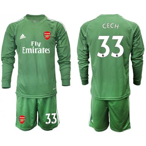 Arsenal 2019/20 #33 CECH Army Green Long Sleeve Goalkeeper Soccer Jersey