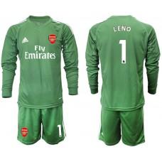 Arsenal 2019/20 #1 LENO Army Green Long Sleeve Goalkeeper Soccer Jersey