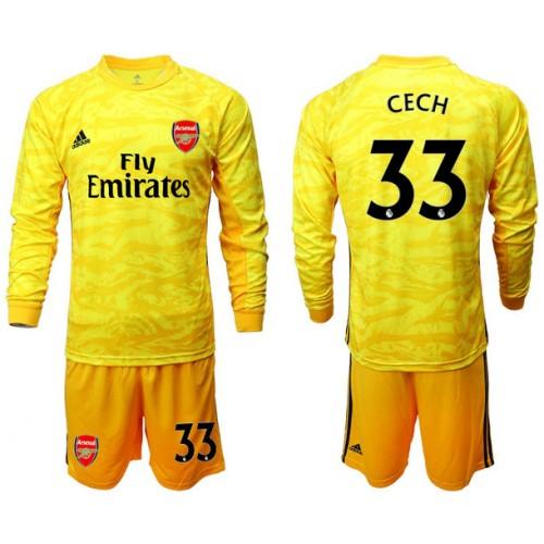 Arsenal 2019/20 #33 CECH Yellow Goalkeeper Long Sleeve Soccer Jersey