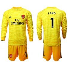 Arsenal 2019/20 #1 LENO Yellow Goalkeeper Long Sleeve Soccer Jersey